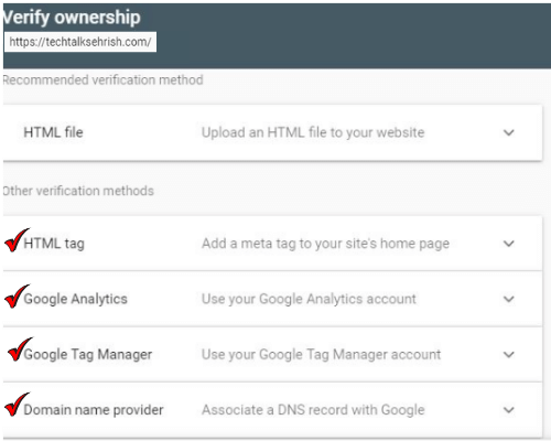 verification method on Google Search console or webmaster tool