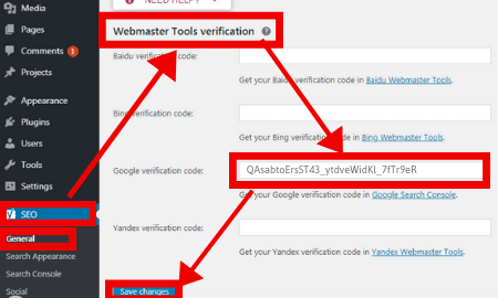 verify website with yoast SEO